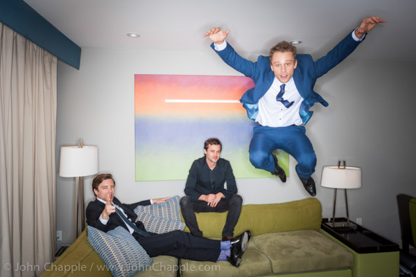 June 1, 2015. Los Angeles, California.  Australians in Film's 7th annual Heath Ledger Scholarship award ceremony, held at The Sunset Marques Hotel in Los Angeles. Pictured is Matt Levett (Right) who was named winner of the 2015 Heath Ledger Scholarship, With previous winners Cody Fern (left) and Oliver Ackland (center) Photo Copyright John Chapple / www.JohnChapple.com