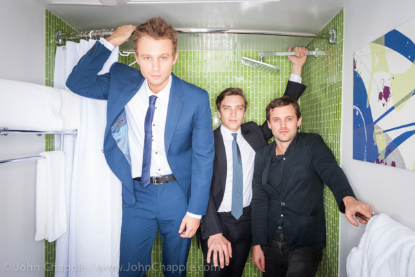 June 1, 2015. Los Angeles, California.  Australians in Film's 7th annual Heath Ledger Scholarship award ceremony, held at The Sunset Marques Hotel in Los Angeles. Pictured is Matt Levett (left) who was named winner of the 2015 Heath Ledger Scholarship, With previous winners Cody Fern (center) and Oliver Ackland (right) Photo Copyright John Chapple / www.JohnChapple.com