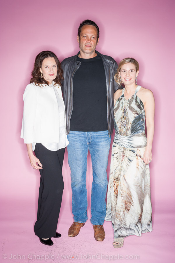 June 1, 2015. Los Angeles, California.  Australians in Film's 7th annual Heath Ledger Scholarship award ceremony, held at The Sunset Marques Hotel in Los Angeles. Pictured is Heath Ledger's mother, Sally Bell (L) and sister, Kate Ledger with actor Vince Vaughn Photo Copyright John Chapple / www.JohnChapple.com
