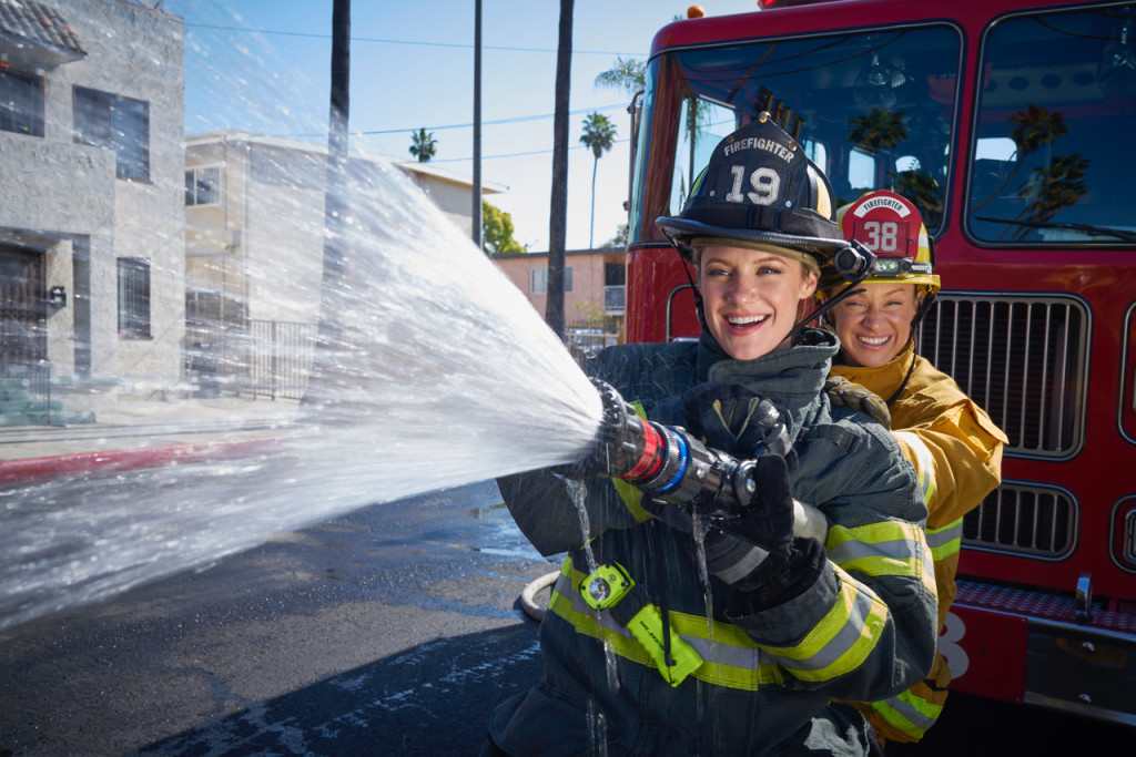 April 21, 2018. Los Angeles, California. Actress Danielle Savre who plays a firefighter in the ABC show Station 19, Pictured with her sister Stephanie Savre who is a real Firefighter/Paramedic with the Los Angeles Fire Department. Photo Copyright John Chapple / www.JohnChapple.com