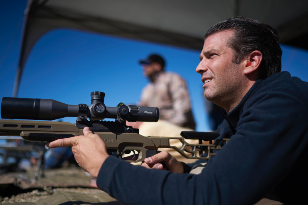 September 25, 2018. Sheridan, Montana. Donald Trump Jr. the eldest child of the 45th President of the United States, Donald Trump. Trump Jr. was in Montana with his girlfriend Kimberly Guilfoyle to support Republican U.S. Senate candidate Matt Rosendale. Pictured is Donald shooting targets with a rifle. Photo Copyright John Chapple / www.JohnChapple.com